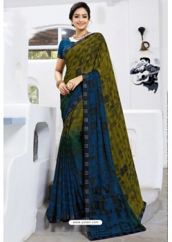 Trendy Mehendi Designer Printed Sari