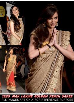Malaika Arora Golden And Peach Bollywood Saree