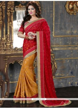 Red And Mustard Net Designer Saree