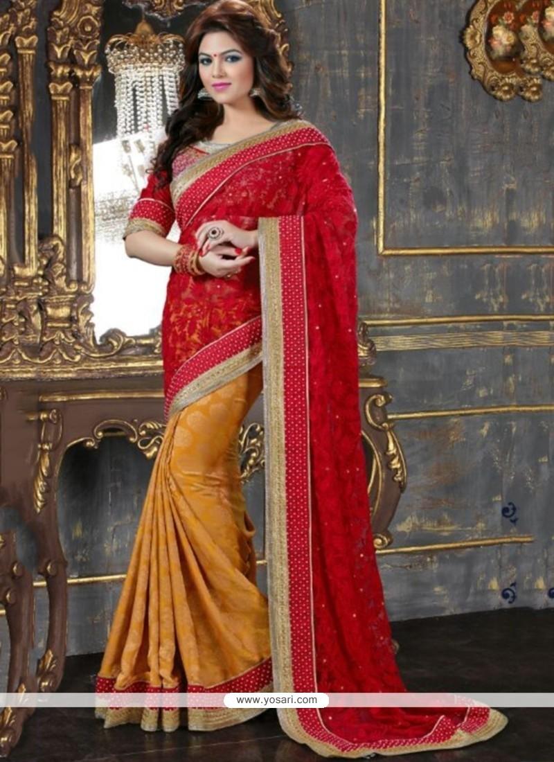 Red And Mustard Net Designer Saree