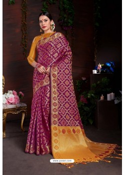 Classy Deep Wine Designer Lichi Silk Sari