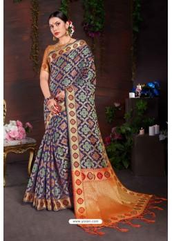 Awesome Navy Blue Designer Lichi Silk Sari