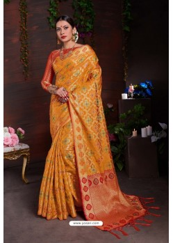 Classy Yellow Designer Lichi Silk Sari