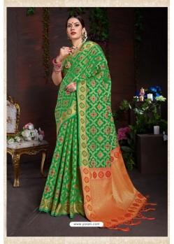 Classy Green Designer Lichi Silk Sari