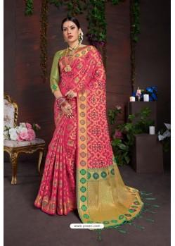 Classy Hot Pink Designer Lichi Silk Sari