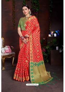 Classy Red Designer Lichi Silk Sari