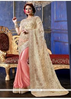 Cream And Pink Net And Satin Designer Saree