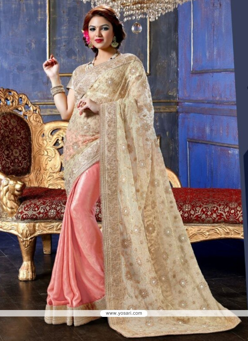 Cream And Pink Net And Satin Designer Saree