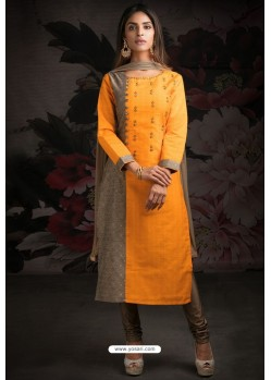 Fabulous Orange Embroidered Churidar Salwar Suit