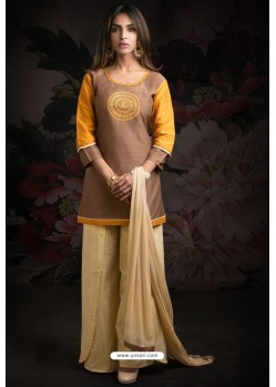 Scintillating Brown Embroidered Palazzo Salwar Suit