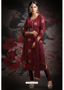 Ravishing Maroon Embroidered Churidar Salwar Suit