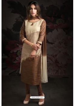 Ravishing Brown Embroidered Churidar Salwar Suits