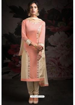 Ravishing Baby Pink Embroidered Churidar Salwar Suits