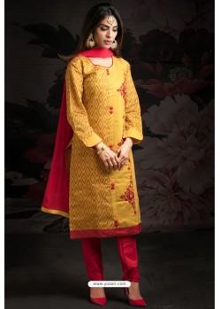 Ravishing Yellow Embroidered Churidar Salwar Suits