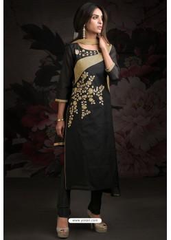 Ravishing Carbon Embroidered Churidar Salwar Suits