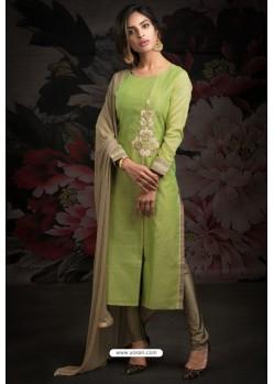 Ravishing Parrot Green Embroidered Churidar Salwar Suits