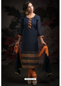 Ravishing Navy Blue Embroidered Churidar Salwar Suits