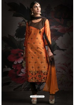 Ravishing Orange Embroidered Churidar Salwar Suits