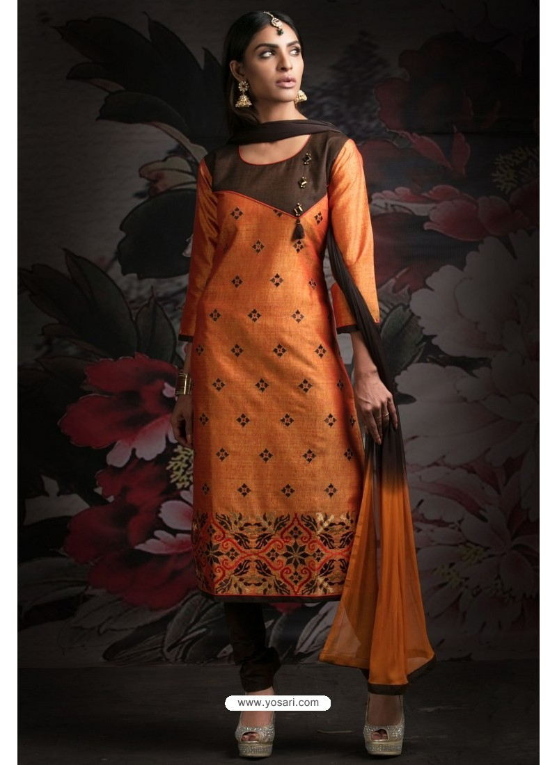 Ravishing Orange Embroidered Churidar Salwar Suits