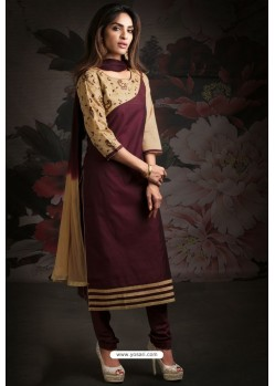 Ravishing Deep Wine Embroidered Churidar Salwar Suits