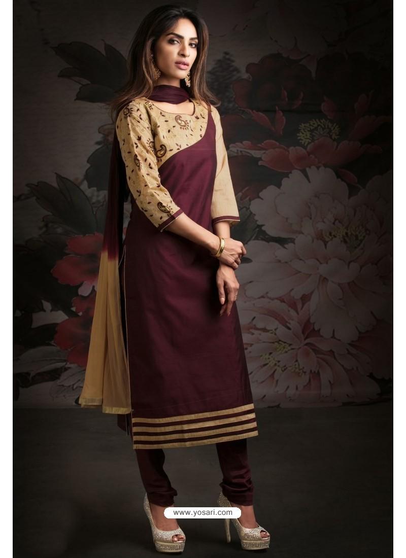 Ravishing Deep Wine Embroidered Churidar Salwar Suits