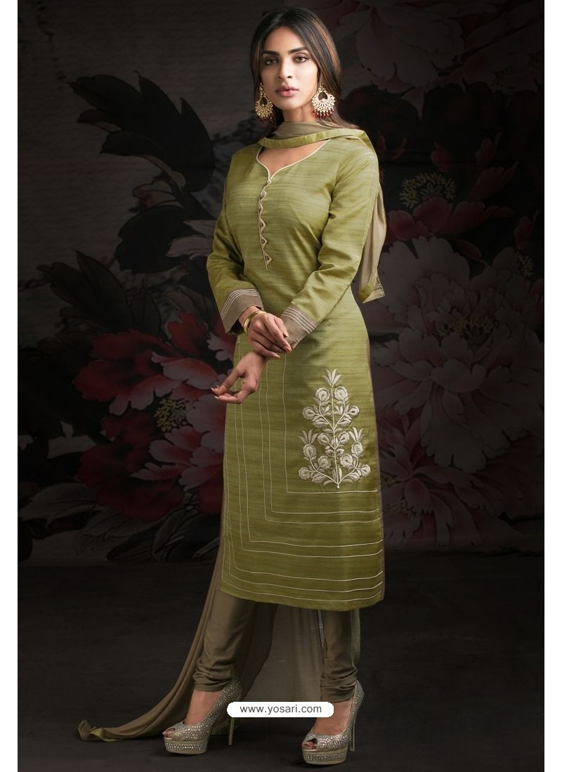 Ravishing Green Embroidered Churidar Salwar Suits