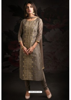 Ravishing Grey Embroidered Churidar Salwar Suits