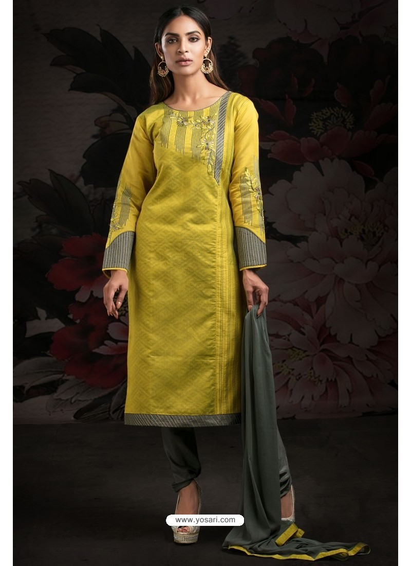 Ravishing Lemon Embroidered Churidar Salwar Suits