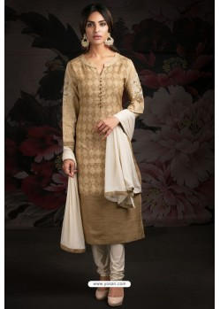 Ravishing Light Brown Embroidered Churidar Salwar Suits
