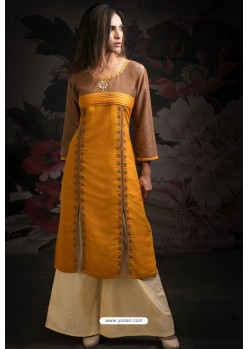 Ravishing Orange Embroidered Palazzo Salwar Suits