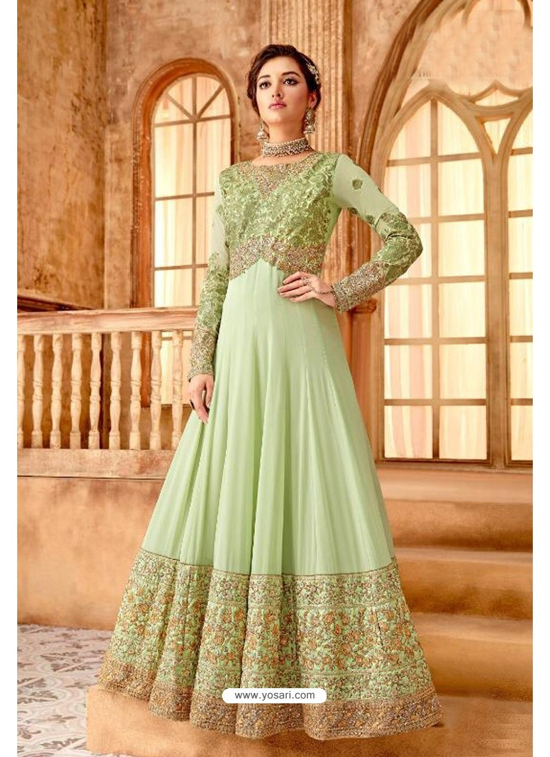 Fabulous Green Embroidered Designer Anarkali Suit