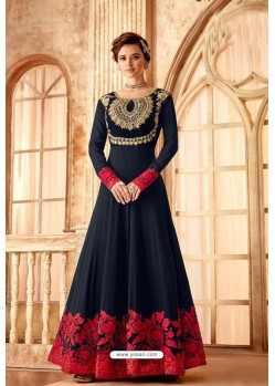 Fabulous Navy Blue Embroidered Designer Anarkali Suit