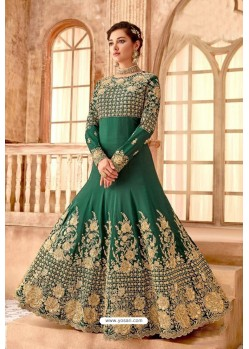 Fabulous Forest Green Embroidered Designer Anarkali Suit