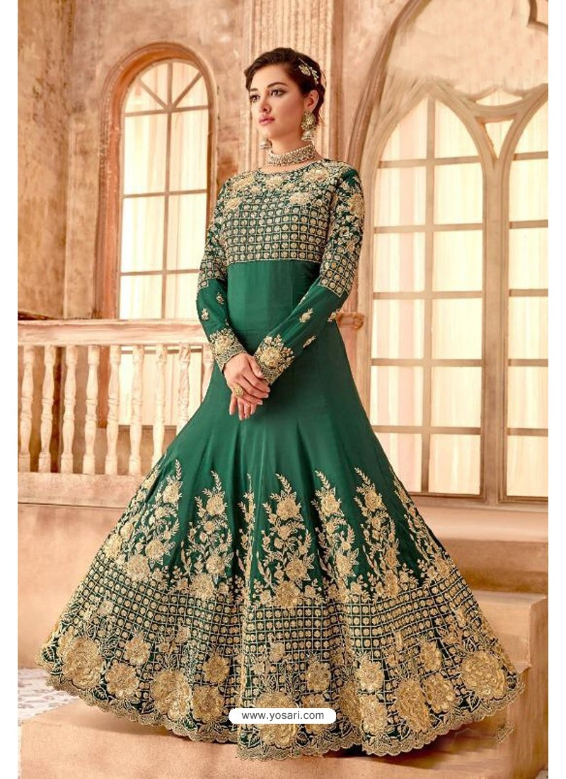 Fabulous Forest Green Embroidered Designer Anarkali Suit