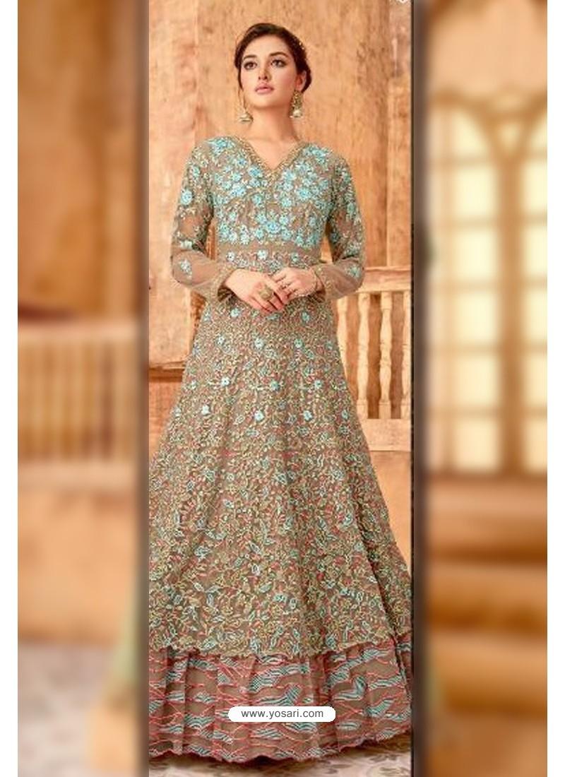 Fabulous Beige Embroidered Designer Anarkali Suit