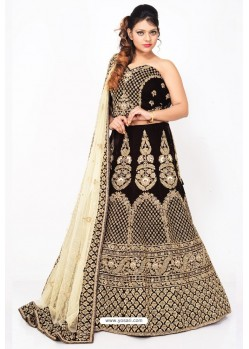 Fabulous Black Heavy Embroidered Wedding Lehenga Choli