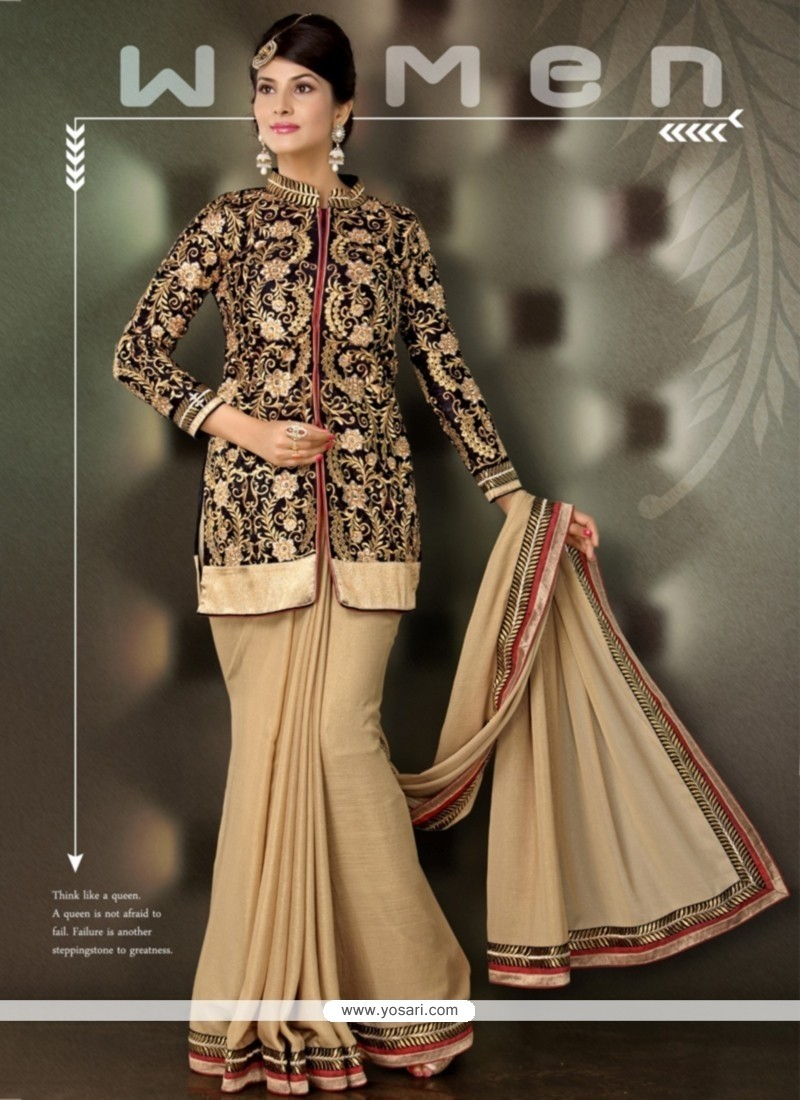 Awesome Beige Velvet Jacket Style Saree