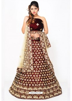 Fabulous Brown Heavy Embroidered Wedding Lehenga Choli