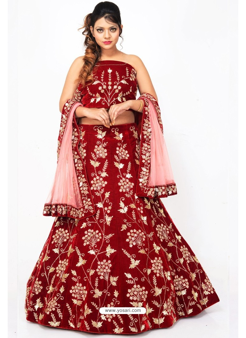 fc90e16088 Buy Fabulous Maroon Heavy Embroidered Wedding Lehenga Choli   Bridal ...