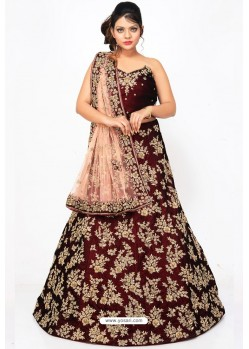 Fabulous Wine Heavy Embroidered Wedding Lehenga Choli