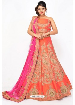 Fabulous Orange Heavy Embroidered Wedding Lehenga Choli