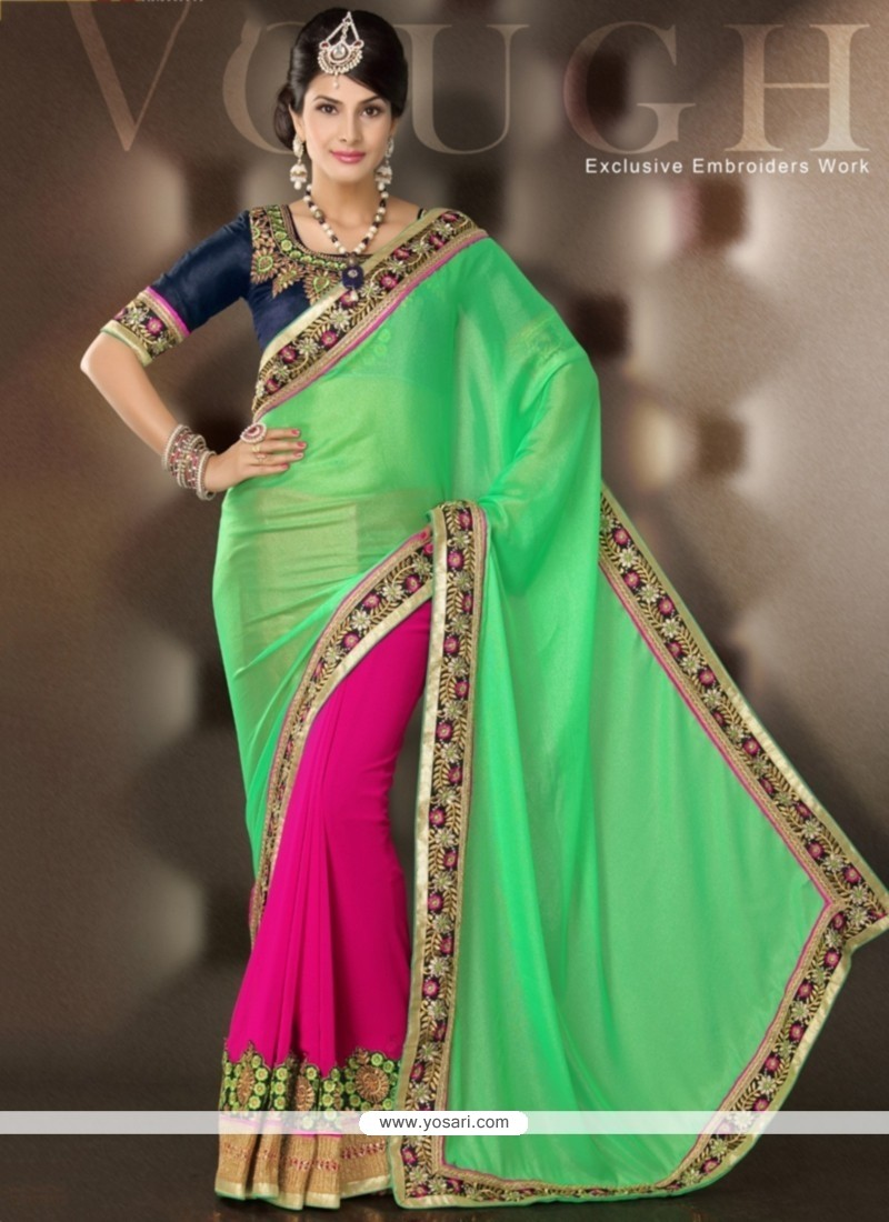 Sea Green And Pink Velvet Designer Saree