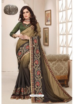 Classy Mehendi Designer Silk Sari