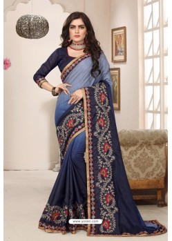 Awesome Navy Blue Designer Silk Sari