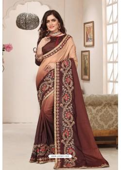Classy Brown Designer Silk Sari