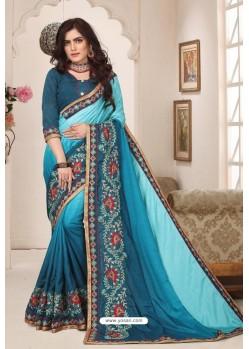 Classy Blue Designer Silk Sari