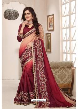 Classy Maroon Designer Silk Sari
