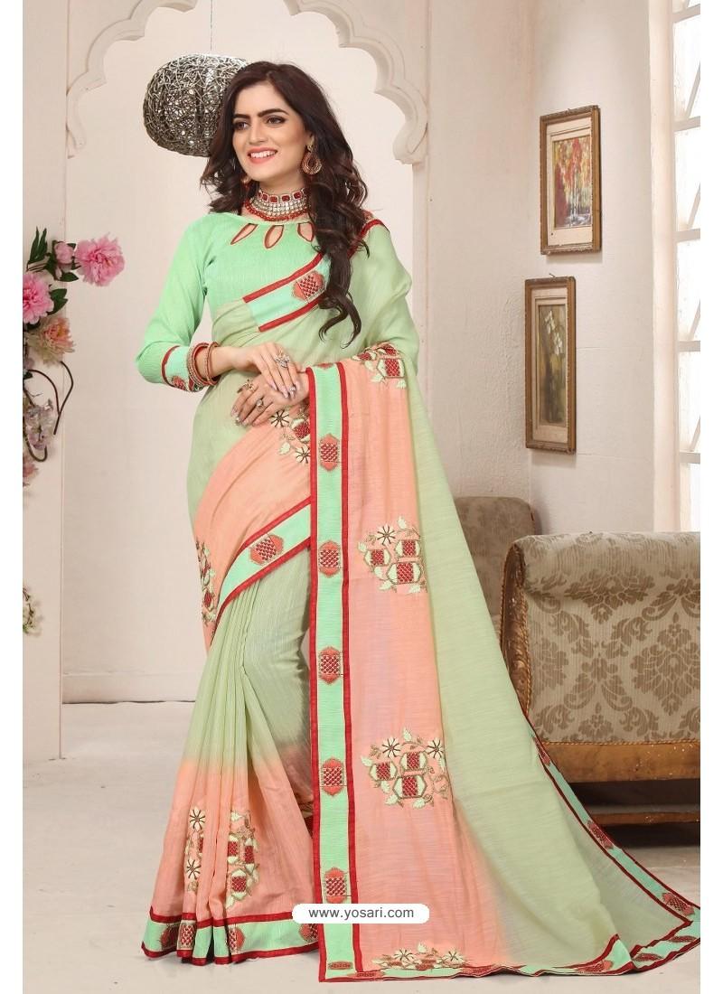 Classy Sea Green Designer Silk Sari