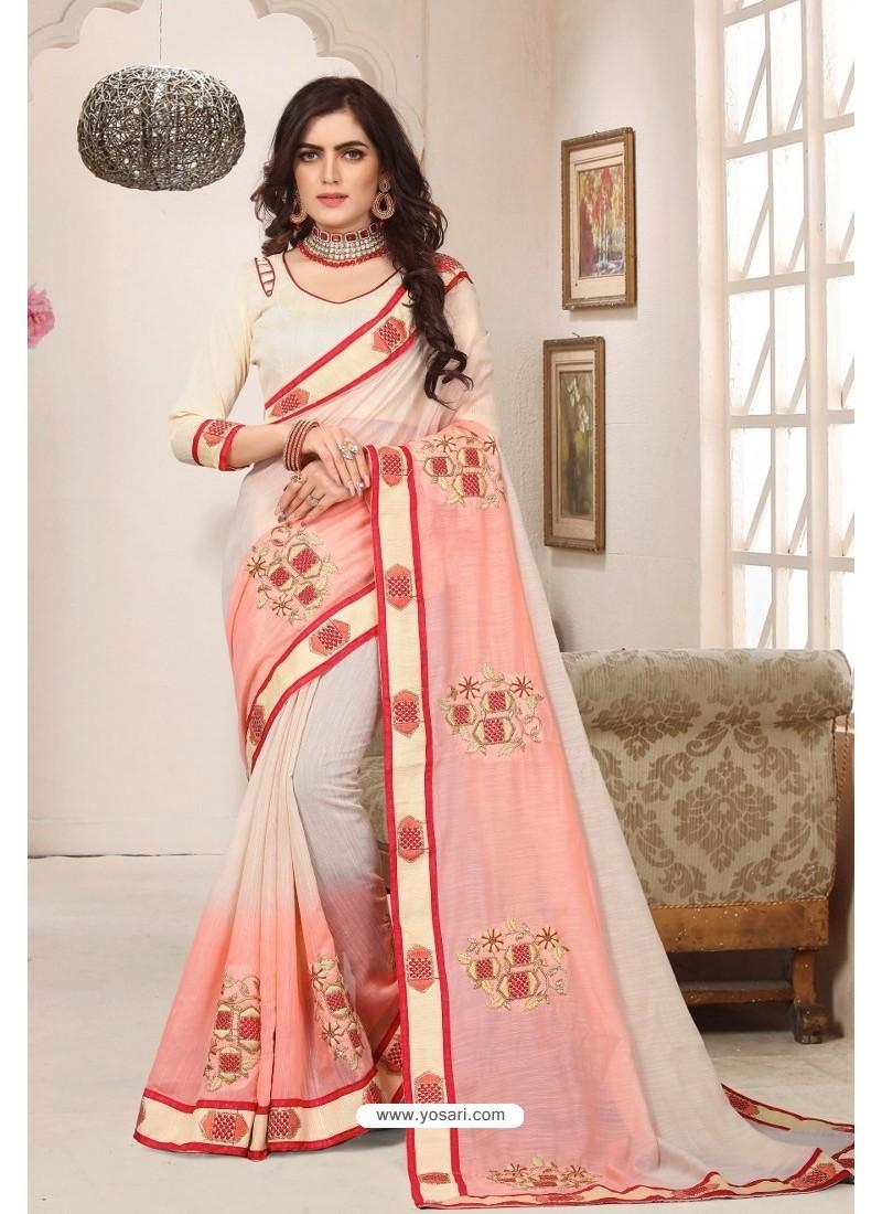 Classy Cream Designer Silk Sari