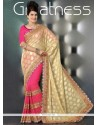 Fabulous Beige And Pink Net Designer Saree